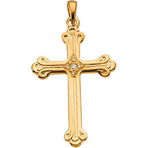 14k Yellow Gold .04 CTW Diamond Cross Pendant