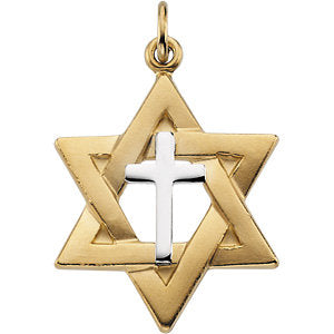 22.00x19.00 mm Two-Tone Star of David Pendant in Sterling Silver and Yellow Gold