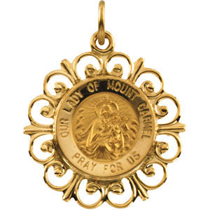 14k Yellow Gold 18.5mm Our Lady of Mount Carmel Medal