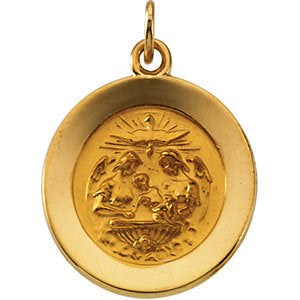 14k Yellow Gold 14.75mm Round Baptismal Pendant Medal