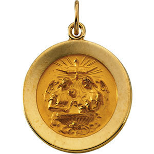 14k Yellow Gold 18mm Round Baptismal Pendant Medal