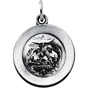 14.75 mm Round Baptism Pendant Medal with 18 inch Chain in Sterling Silver