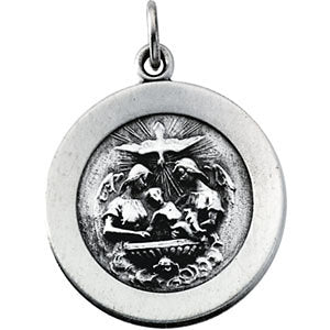 18.75 mm Round Baptism Pendant Medal with 18 inch Chain in Sterling Silver