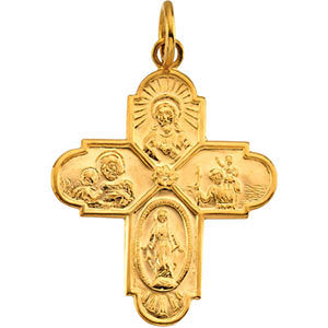 24.4X21.5 mm Four Way Medal in 14K Yellow Gold