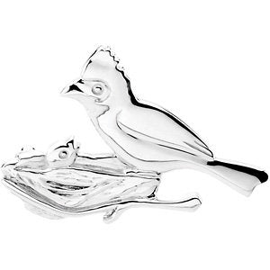 28.25x39.50 mm The Caring Cardinal Brooch in Sterling Silver