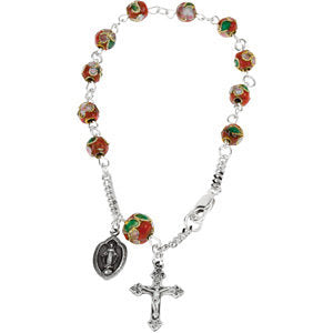 Red Cloisonn? Rosary Bracelet in Sterling Silver