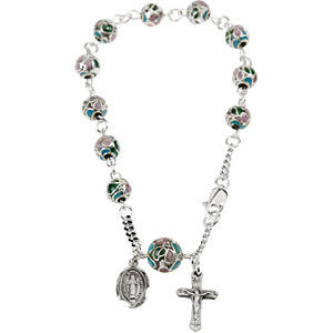 Smooth Cloisonn? Rosary Bracelet in Sterling Silver ( 7.00-Inch )
