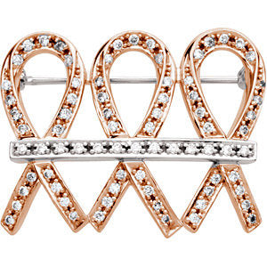 32X25mm 3/4 CTW Diamond Brooch in 14K Rose and White Gold
