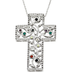 Sterling Silver 12 Step Program Cross Necklace