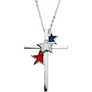 United We Stand Cross Pendant and Chain in Sterling Silver