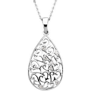 Tear of Sympathy Pendant and Chain in Sterling Silver