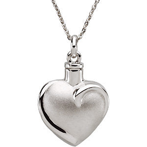 Fancy Heart Ash Holder Pendant and Chain in Sterling Silver