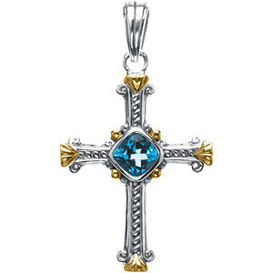 Sterling Silver & 14k Yellow Gold Two-Tone Cross Pendant