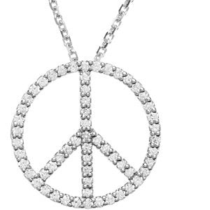 "14k White Gold 1/4 CTW Diamond Peace Sign 16"" Necklace"