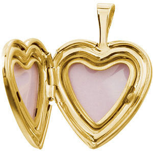 Gold-Plated Sterling Silver 16.5x15.8mm Heart Baptismal Locket