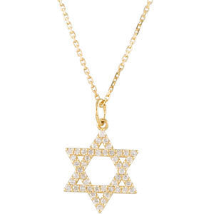 14k Yellow Gold 1/5 CTW Diamond Star of David Necklace