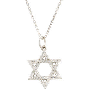 14k White Gold 1/5 CTW Diamond Star of David Necklace