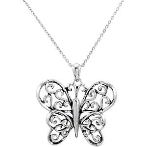 Sterling Silver The Butterfly Principle Necklace
