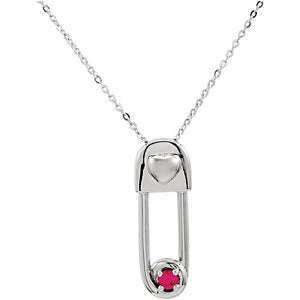 Safe in My Love' July Birthstone Pendant and Chain in Sterling Silver