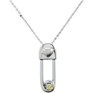 Sterling Silver Safe in My Love Birthstone Necklace