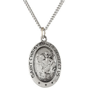 "Sterling Silver 19x14mm Oval St. Christopher 24"" Necklace"