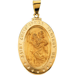 18k Yellow Gold 29x20mm Oval St. Christopher Medal