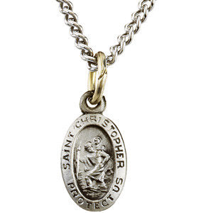 "Sterling Silver 12.25x8.75mm Oval St. Christopher 18"" Necklace"