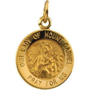 12.00 mm Lady of Mount Carmel Medal in 14K Yellow Gold