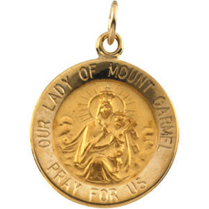15.00 mm Lady of Mount Carmel Medal in 14K Yellow Gold