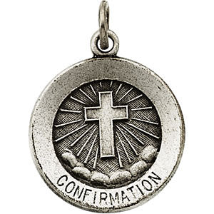 Sterling Silver 15mm Confirmation Medal with Cross