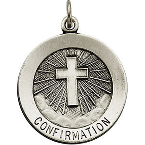 Sterling Silver 18mm Confirmation Medal with Cross