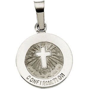 12.00 mm Confirmation Medal with Cross in 14K White Gold