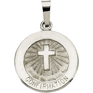 14k White Gold 15mm Confirmation Medal with Cross