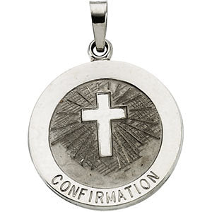 14k White Gold 18mm Confirmation Medal with Cross