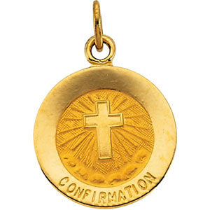 12.00 mm Confirmation Medal with Cross in 14K Yellow Gold