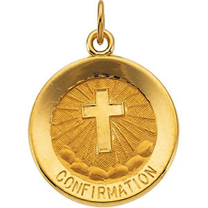 14k Yellow Gold 15mm Confirmation Medal with Cross