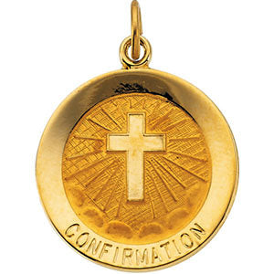 14k Yellow Gold 18mm Confirmation Medal with Cross