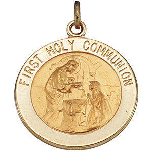 14k Yellow Gold 18mm First Communion Medal