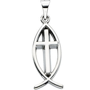 Sterling Silver 19x9mm Fish Pendant with Cross