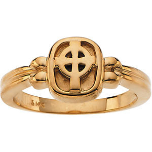18k Yellow Gold Celtic Cross Ring, Size 7