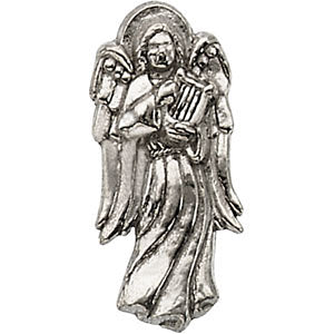 14.00x06.00 mm Angel with Harp Lapel Pin in 14K White Gold