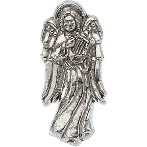 14k White Gold Angel with Harp Lapel Pin
