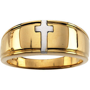 14k White Gold Religious Cross Ring Duo, Size 10