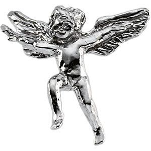 14k White Gold Flying Cherub Lapel Pin