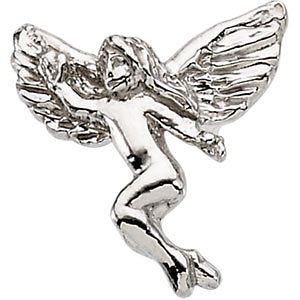 12.00x13.00 mm Dancing Angel Lapel Pin in 14K White Gold