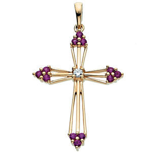 14k Yellow Gold Ruby & .04 CTW Diamond Cross Pendant