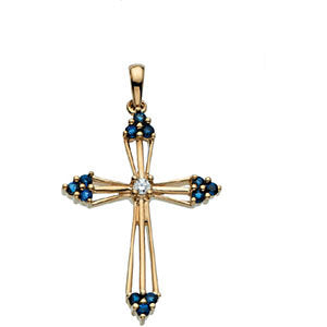 28.00x20.00 mm Cross Pendant with Diamond and Sapphire in 14K Yellow Gold