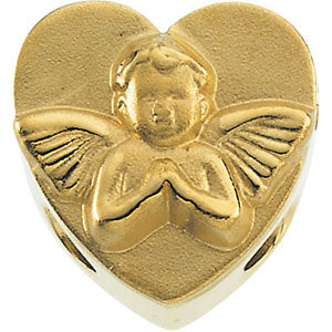 11.75x12.00 mm Heart Shaped Bracelet Slide with Angel in 14K Yellow Gold