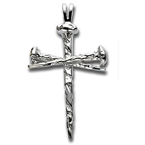 14k White Gold 34x24mm Nail Design Cross Pendant