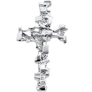 14k White Gold 38x22mm Cross Pendant